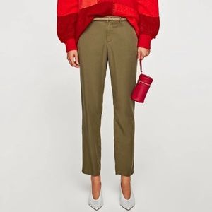 NWT Zara Chino olive trousers with belt